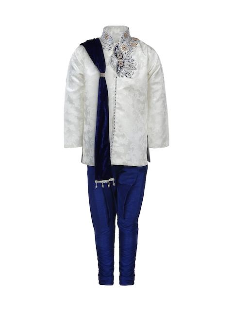 Aj DEZInES Boys Off-White & Blue Embellished Clothing Set