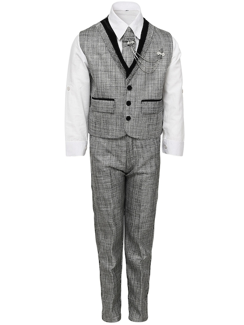 Aj DEZInES Boys Grey & White Clothing Set