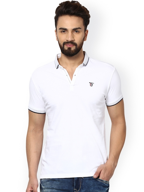 Mufti Men White Solid Polo Collar Slim Fit T-shirt