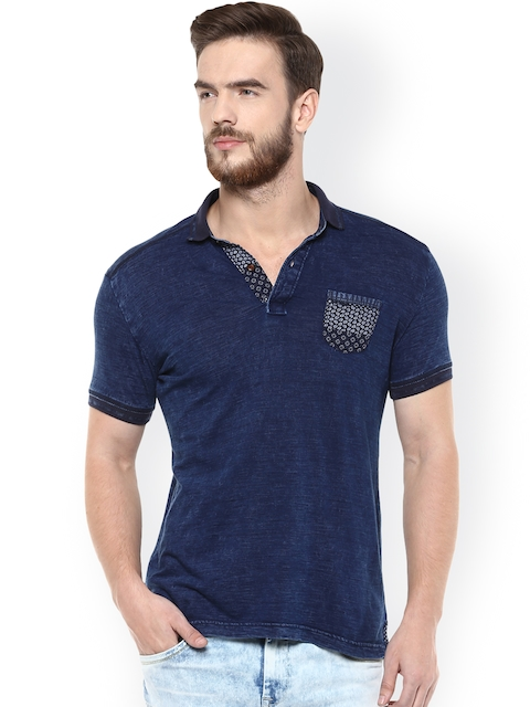 Mufti Men Navy Solid Polo Collar Slim Fit T-Shirt
