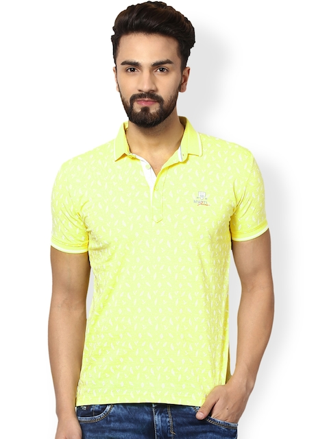 Mufti Men Yellow Printed Polo T-shirt