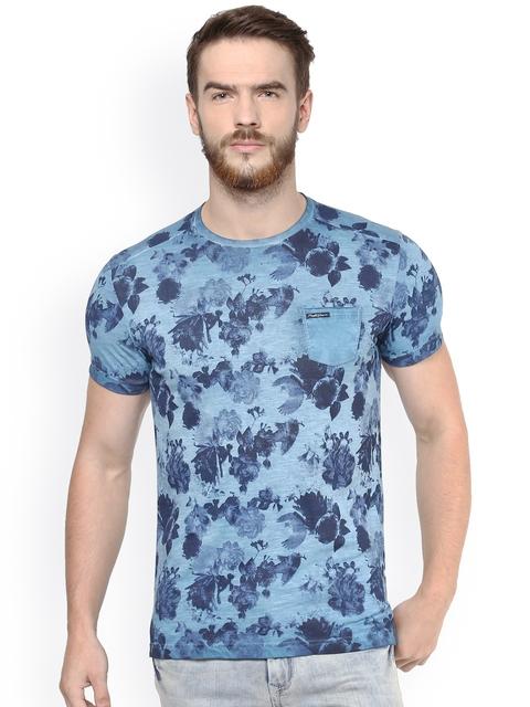 Mufti Men Blue Printed T-Shirt