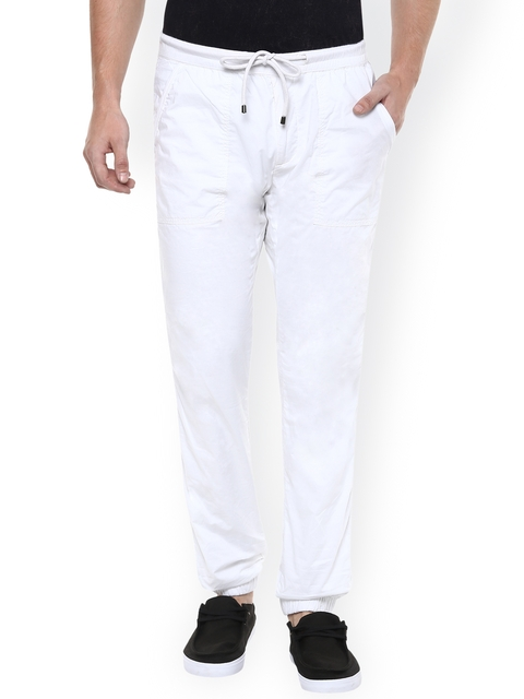 Mufti Men White Solid Regular Fit Cuffed Trousers
