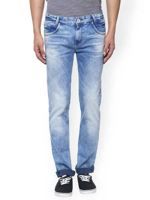 Mufti Men Blue Narrow Fit Mid-Rise Clean Look Jeans