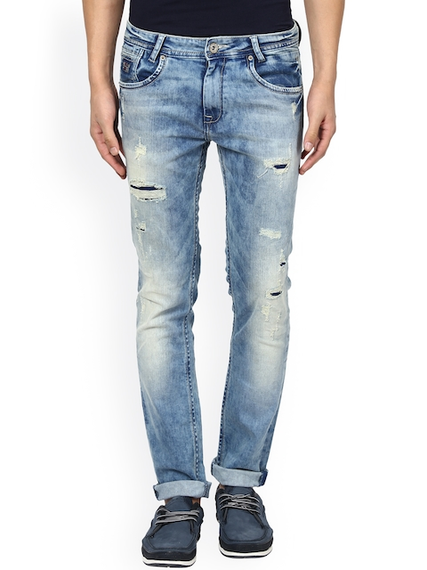 Mufti Men Blue Super Slim Fit Mid Rise Mildly Distressed Jeans