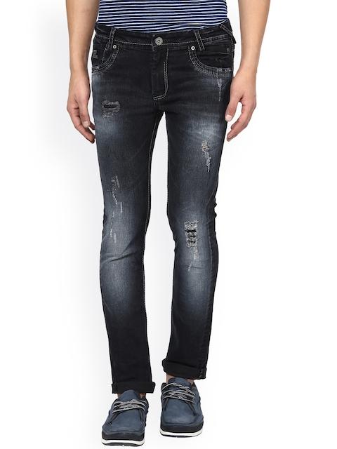 Mufti Men Black Super-Skinny Fit Mildly Distressed Stretchable Jeans