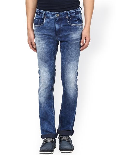 Mufti Men Blue Super Slim Fit Acid Washed Stretchable Jeans
