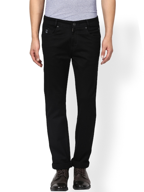 Mufti Men Black Straight Fit Stretchable Jeans