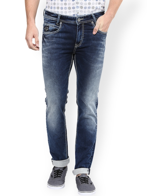 Mufti Men Navy Blue Narrow Fit Stretchable Jeans