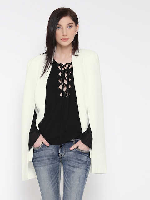 FOREVER 21 White Open Front Cape Jacket