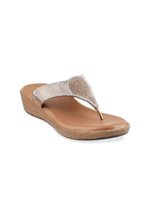 Mochi Women Gold-Toned Embellished Sandals