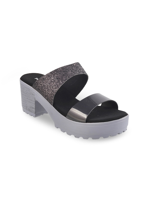 Mochi Women Gunmetal-Toned Embellished Platforms