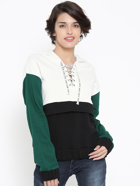 FOREVER 21 Off-White & Black Colourblocked Hooded Sweatshirt