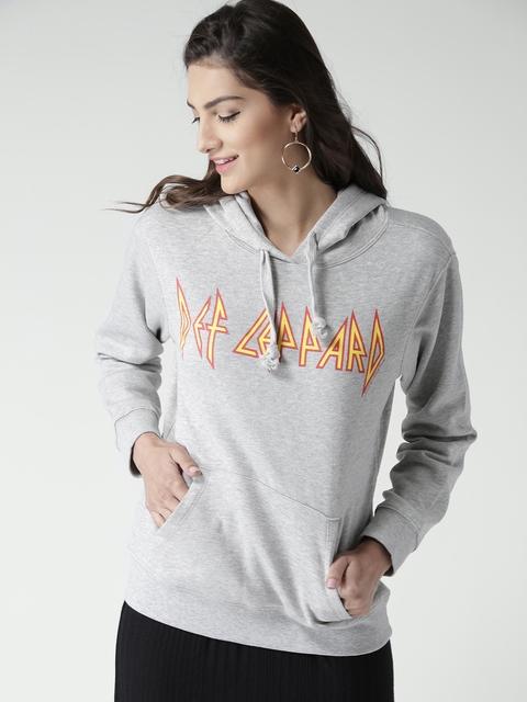 FOREVER 21 Grey Melange Printed Hooded Sweatshirt