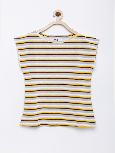YK Girls Grey Melange & Yellow Striped Round Neck T-shirt  available at myntra for Rs.164