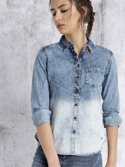 Roadster Women Blue Ombre-Dyed Casual Shirt
