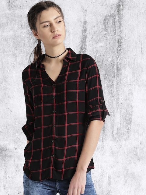 Roadster Women Black Checked Casual Shirt