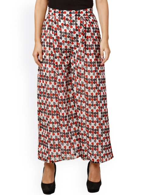 Oxolloxo White & Red Printed Palazzos