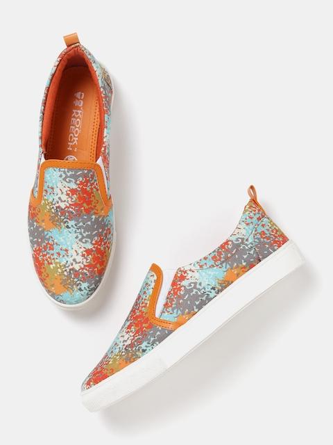 Kook N Keech Women Multicoloured Printed Slip-On Sneakers