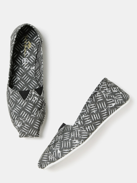 Mast & Harbour Women Grey Printed Slip-Ons