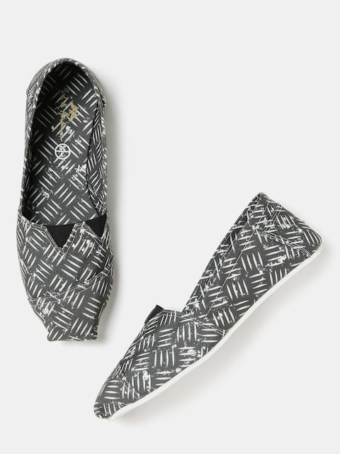 Mast & Harbour Women Grey Printed Slip-Ons