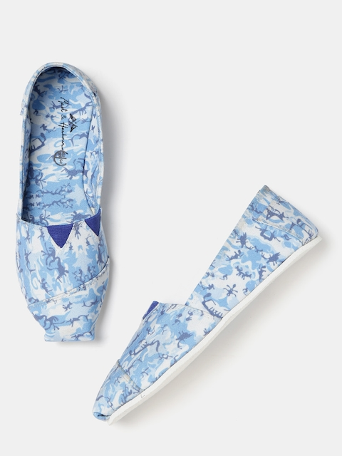 Mast & Harbour Women Blue Printed Slip-Ons