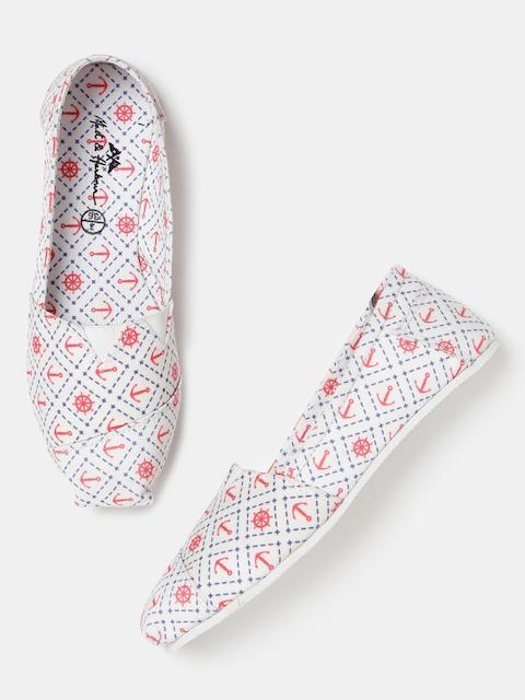Mast & Harbour Women White Printed Slip-Ons