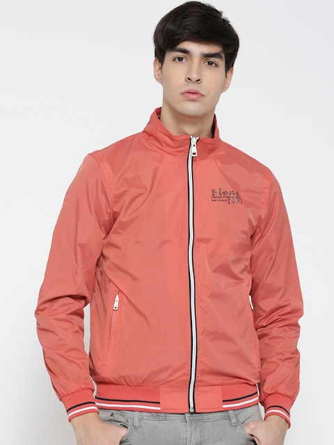 BLEND Coral Orange Bomber Jacket