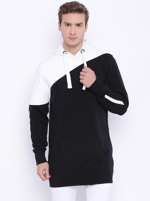 ATTIITUDE Black & White Colourblocked Longline Hooded Sweatshirt