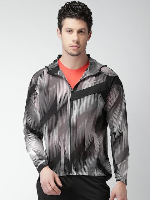 Nike Men Grey & Black Striped Hooded AS M NK Windcheater