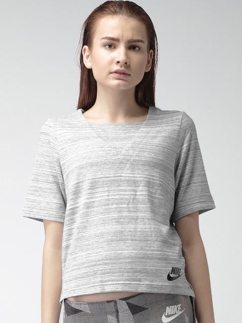 Nike Women Grey Melange AS W NSW AV15 Knit Self-Design Top