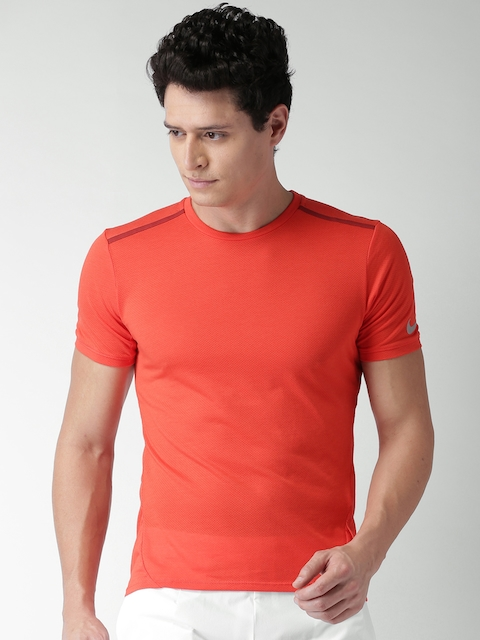 Nike Men Coral Red AS DF Cool Tailwind SS Self-Design Round Neck T-shirt