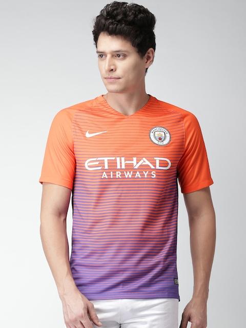 Nike Men Orange & Purple MCFC Dri-Fit STAD SS 3 Striped T-shirt