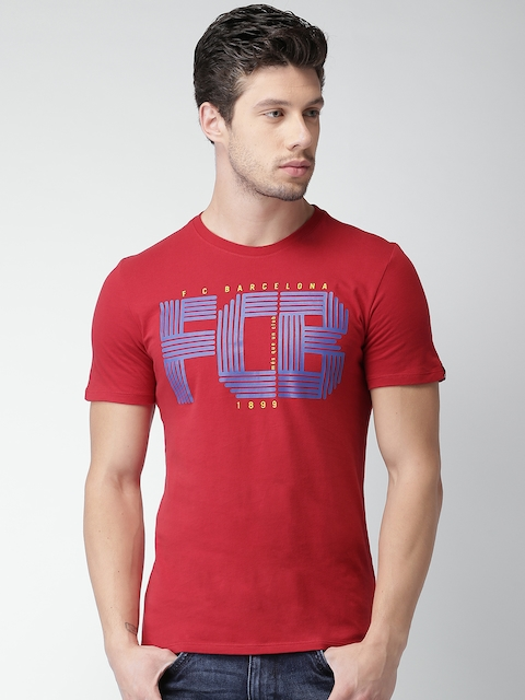 Nike Men Red FCB SQUAD Printed Round Neck T-shirt