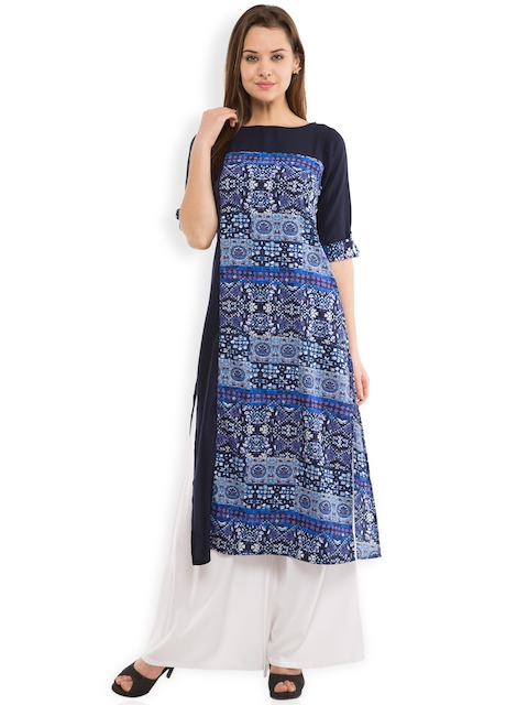 Vishudh Women Navy Printed Kurta  available at myntra for Rs.359