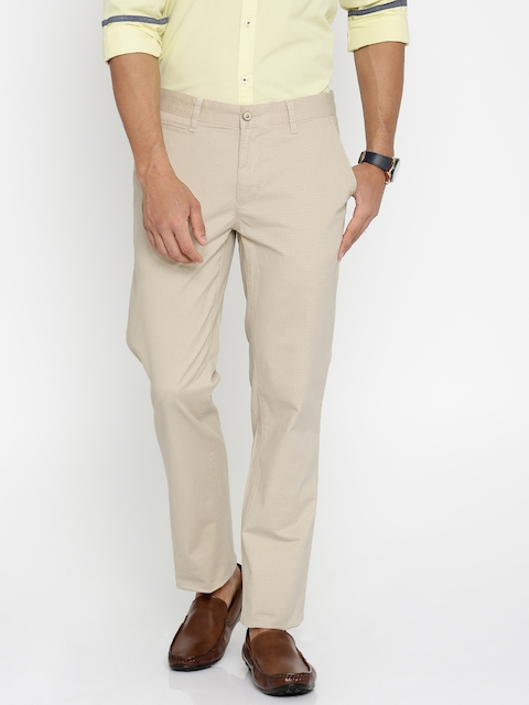 Park Avenue Beige Printed Tapered Fit Chinos