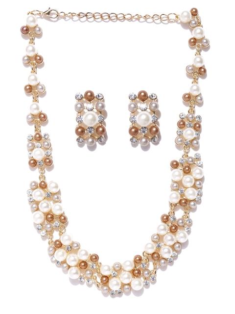 Shining Diva Gold-Toned & Off-White Beaded Stone-Studded Jewellery Set