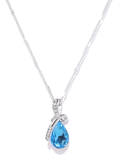 Shining Diva Silver-Toned & Blue Stone-Studded Pendant with Chain