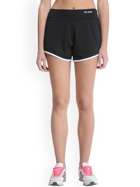 Da Intimo Women Black Solid Regular Fit Engine Sports Shorts
