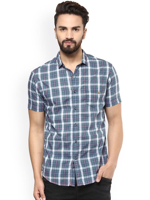 Mufti Men Grey & White Slim Fit Checked Casual Shirt