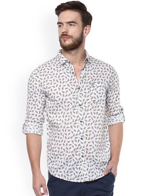 Mufti Men White Slim Fit Printed Casual Shirt