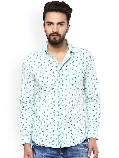 Mufti Men Green Slim Fit Printed Casual Shirt