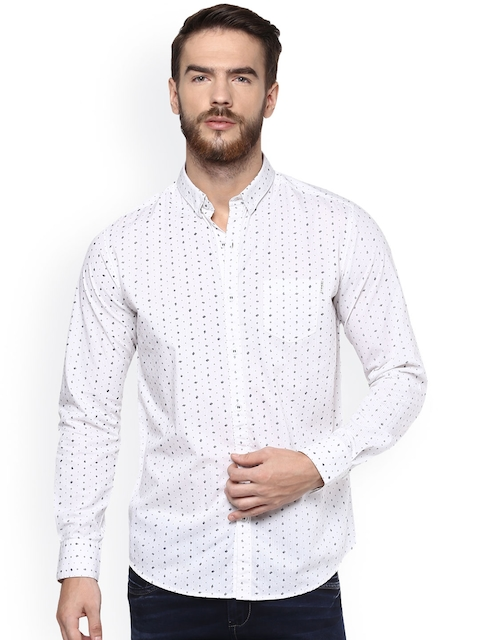 Mufti Men White & Blue Slim Fit Printed Casual Shirt