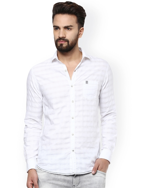 Mufti Men White Slim Fit Striped Casual Shirt  available at myntra for Rs.1019