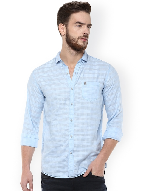 Mufti Men Blue Slim Fit Striped Casual Shirt  available at myntra for Rs.849