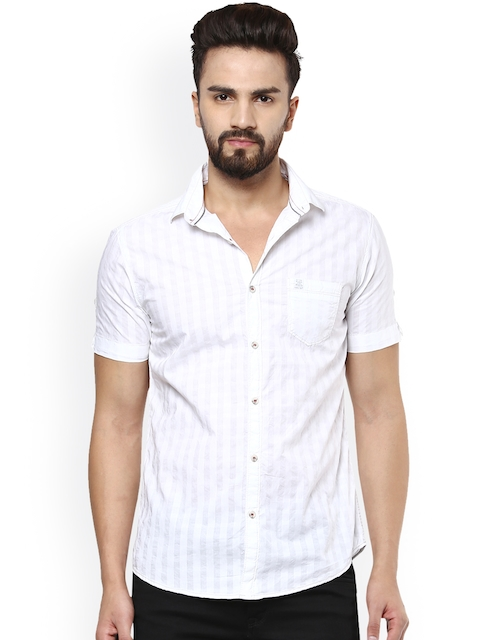 Mufti Men White Striped Slim Fit Casual Shirt  available at myntra for Rs.899
