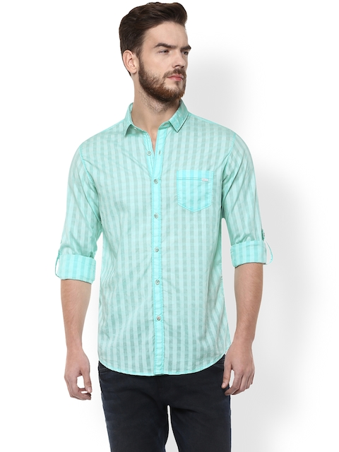 Mufti Men Blue Striped Slim Fit Casual Shirt  available at myntra for Rs.1074