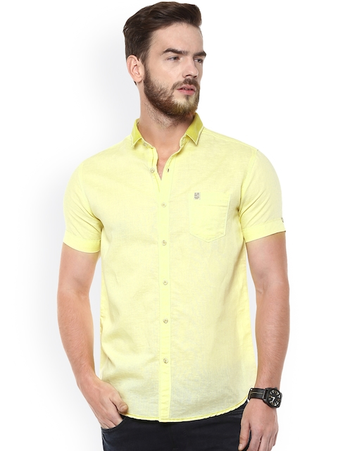 Mufti Men Yellow Slim Fit Casual Shirt