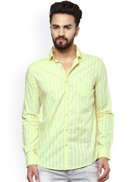 Mufti Men Yellow Striped Slim Fit Casual Shirt  available at myntra for Rs.999