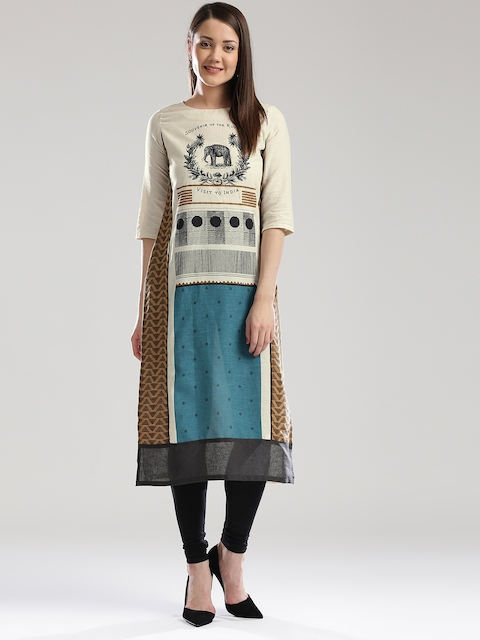 W Women Cream-Coloured Printed Panelled Straight Kurta